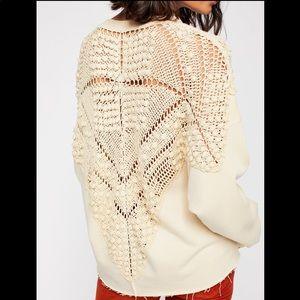 Rare Free People Coco Crochet Pullover Sweater, L